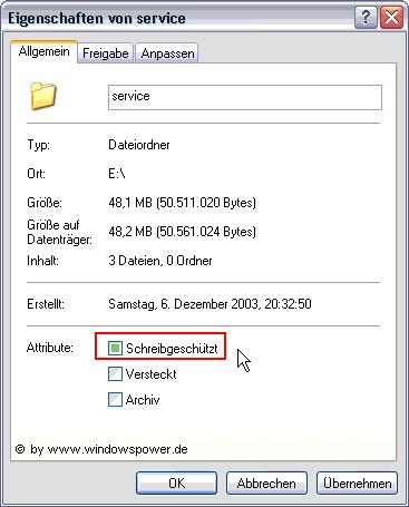 Von CD-ROM kopierte Dateien sind schreibgeschützt