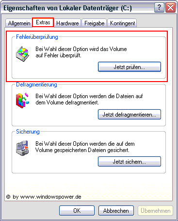 ScanDisk / CheckDisk mit Windows XP