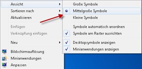 Größe von Desktop-Symbole ändern unter Windows 7