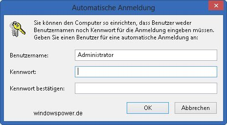 Ohne Passworteingabe anmelden unter Windows 8