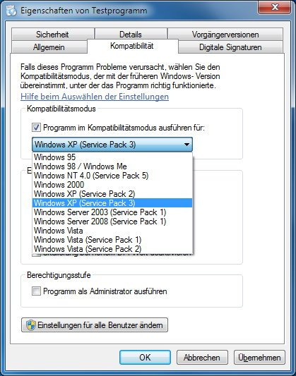 Windows 8 Programme Kompatibilitätsmodus einstellen