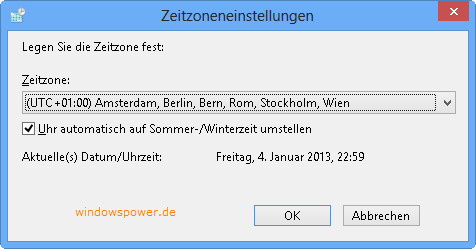 Windows 8 Zeitzone – Uhrzeit und Datum ändern
