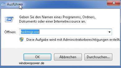 ausfueren taskmgr exe 390x220 - Kurztipp: Taskmanager zurücksetzen unter Windows 7