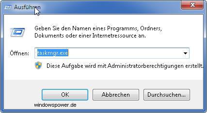 ausfueren taskmgr exe - Kurztipp: Taskmanager zurücksetzen unter Windows 7