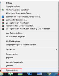 Pfad des Explorers ändern Windows 7