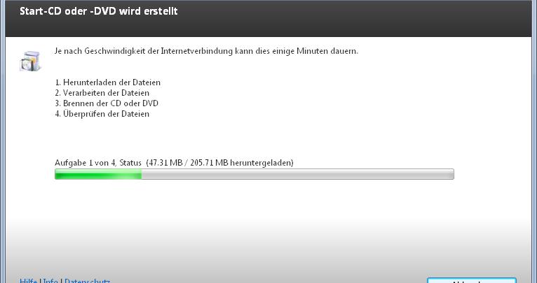 start cd dvd wird erstellt 766x405 - Mit Windows Defender Offline Rettungs-CD/DVD Viren, Schadsoftware, Rootkits entfernen