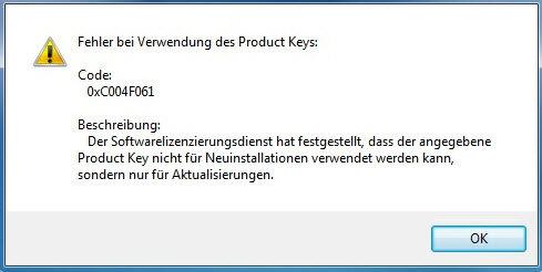 0xc004f061 - Aktivierungsfehler: 0xC004F061 unter Windows 7