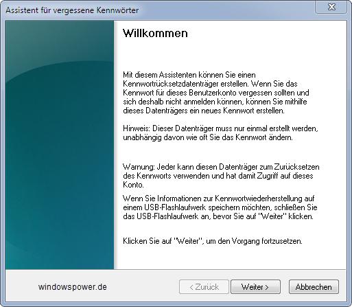assistent fuer vergessene kennwoerter - Kennwortrücksetzdiskette für vergessene Passwörter erstellen unter Windows 7