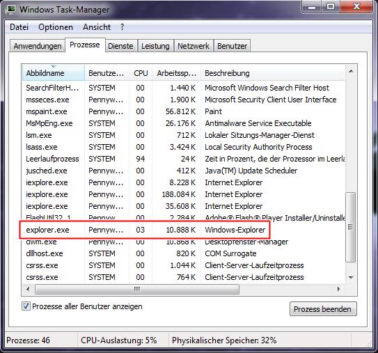Bild von Windows Explorer richtig beenden