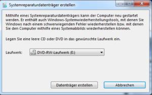 Systemreparaturdatenträger erstellen unter Windows 7