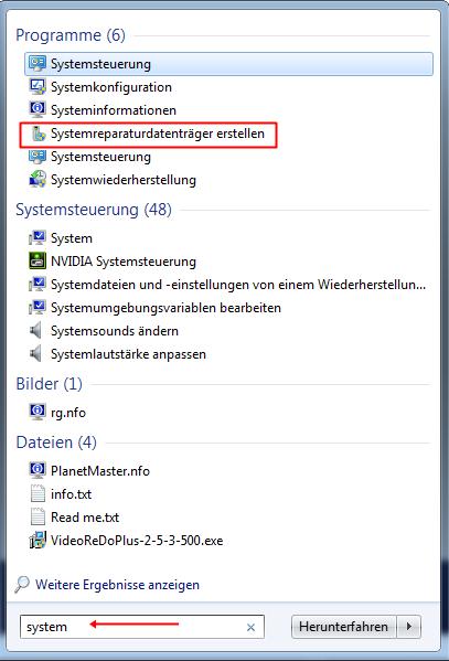 system - Systemreparaturdatenträger erstellen unter Windows 7