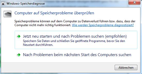 speicher2 - Speicherprobleme ermitteln mit Windows 7