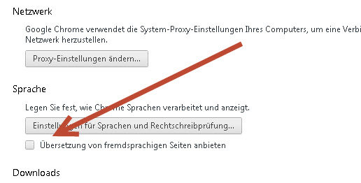 Übersetzung bei Google Chrome deaktivieren