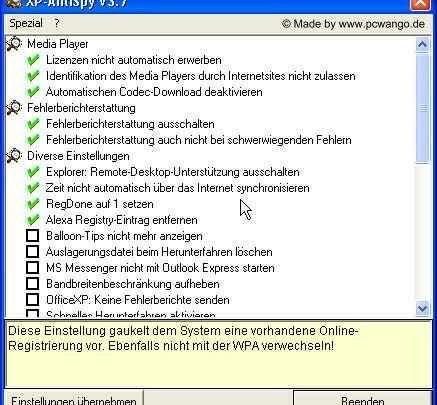 antixp1 437x405 - Windows XP Spionage mit XP Antispy verhindern ( Anleitung )