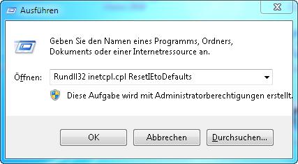ausfueren - Internet Explorer Einstellungen Zurücksetzen