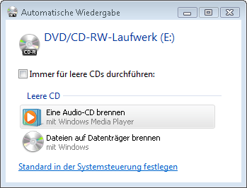 MP3 Dateien Brennen mit Windows Vista