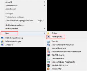 Desktop sperren Verknüpfung auf den Desktop anlegen