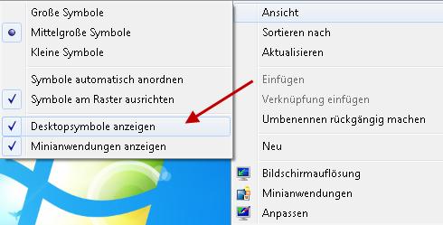 desktopsymbole anzeigen - Wenn die Desktopsymbole plötzlich verschwunden sind unter Windows 7