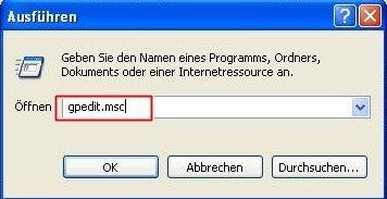gpedit - XP Startmenü anpassen