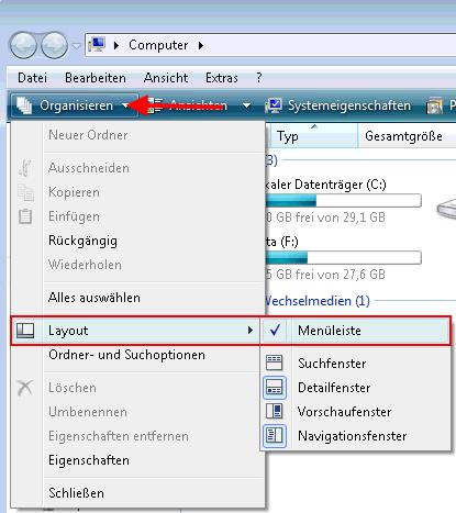 meneuleiste organisieren layout - Menüleiste unter Windows Vista aktivieren