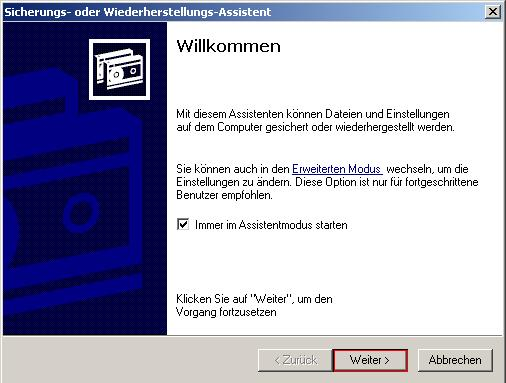 pic1 - Backup erstellen mit Windows XP
