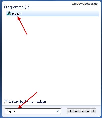 registry starten1 - Vorschaubilder in der Taskleiste beschleunigen unter Windows 7