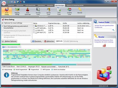 screenshot1 t7 drive defrag - Schneller, besser und individueller Windows 7 auf Touren bringen