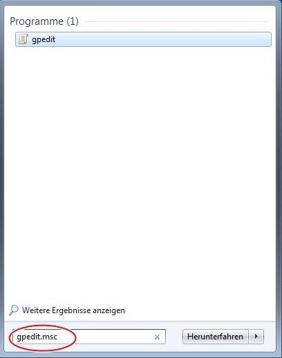 startmen  - Internet durchsuchen  einfügen Windows 7 Ultimate