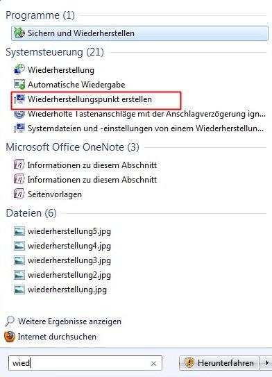 wiederherstellen - Wiederherstellungspunkt erstellen Windows 7