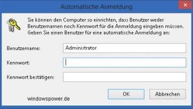 automatische anmeldung 390x220 - Ohne Passworteingabe anmelden unter Windows 8