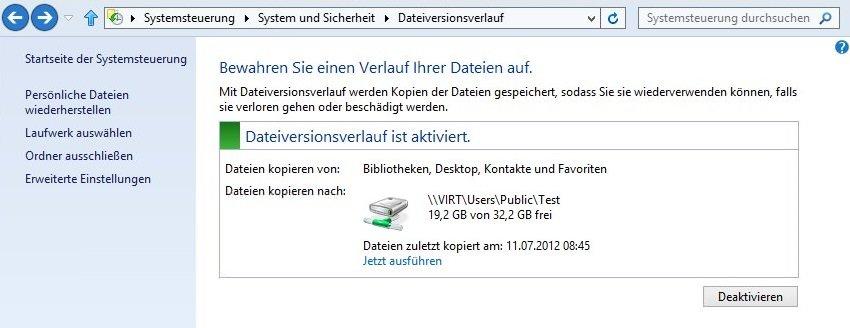 dateiversionsverlauf - Windows 8 Dateiversionsverlauf aktivieren