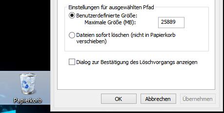 papier - Windows 8 Datei löschen Abfrage widerherstellen