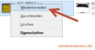 wiederherstellen Windows 8 – Gelöschte Dateien von Papierkorb wiederherstellen