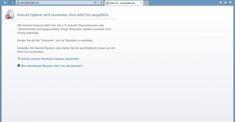 interent explorer wird momenta ohne add ons ausgeguehrt 780x405 - Internet Explorer funktioniert nicht mehr