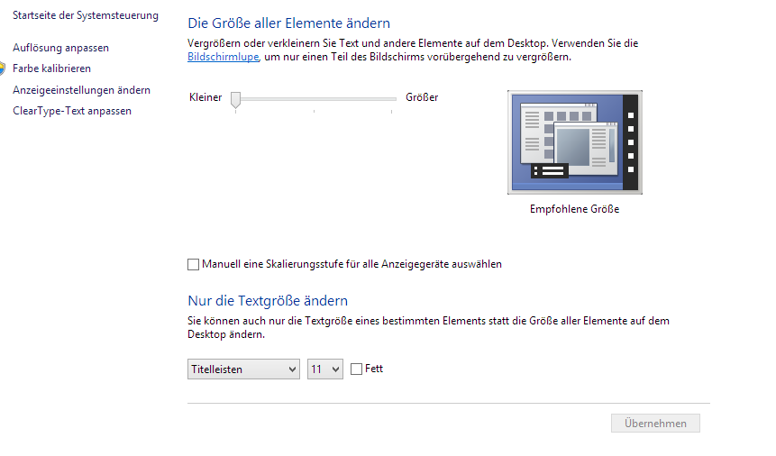 Windows 8.1 Unscharfe Schrift Problem