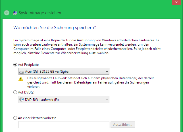 unbenannt - Windows 8.1 Systemsicherung starten