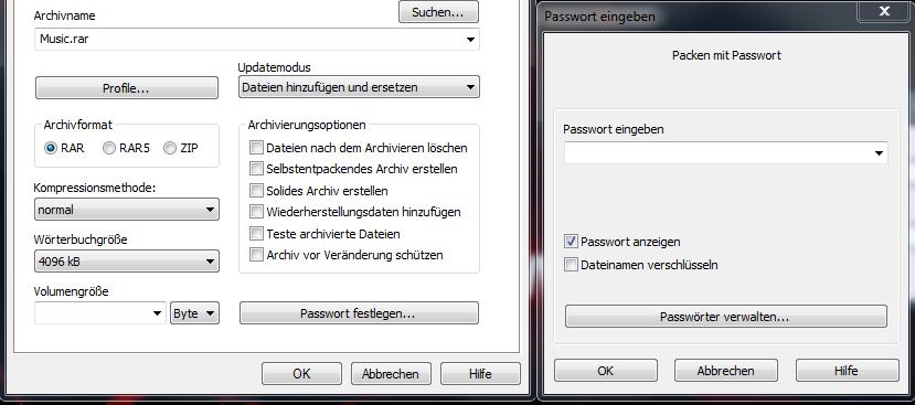 Bild von Dateien mit WinRar verschlüsseln