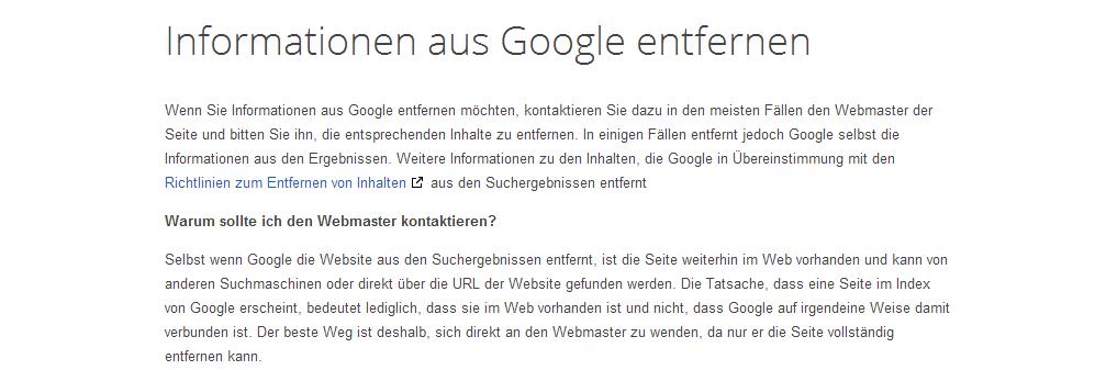 informationen aus google entfernen - Google Sucheinträge löschen lassen Anleitung