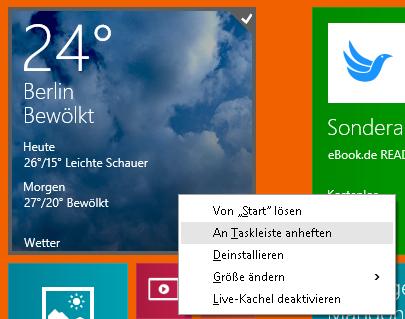 an taskleiste anheften Windows 8.1: Kachel an Taskleiste anheften