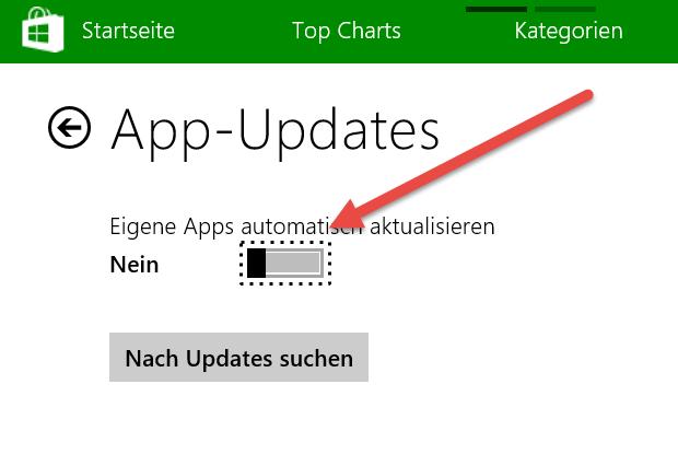 Automatische App-Updates deaktivieren bei Windows 8.1