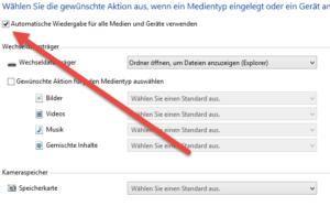 Automatische Wiedergabe für alle Medien und Geräte verwenden Automatische Wiedergabe deaktivieren unter Windows 8.1