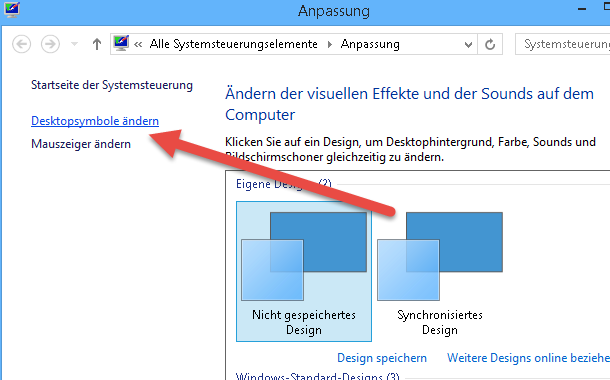 desktopsymbole aendern - Papierkorb wiederherstellen unter Windows 8.1