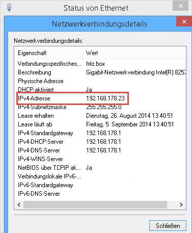 eigene interne IP Netzwerkverbindungsdetails