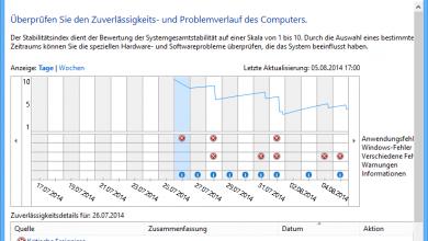 zuverlaessigkeits ueberpruefung1 390x220 - Windows 8.1 -  Überprüfung der Zuverlässigkeit und des Problemverlaufs des Computers