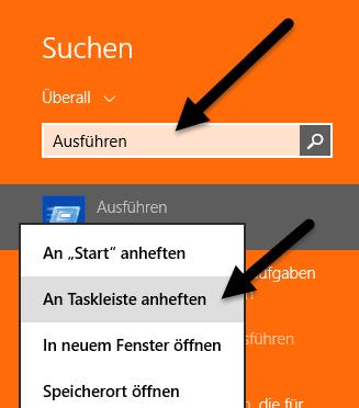 Ausführen an die Taskleiste anheften Ausführen an die Taskleiste anheften bei Windows 8.1