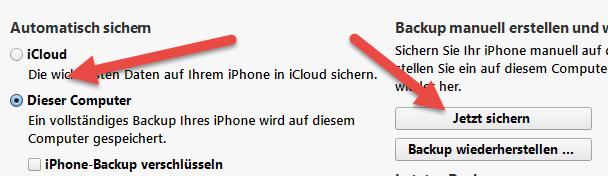 jetzt sichern itunes Umziehen altes iPhone auf neues iPhone 6 ohne Datenverlust