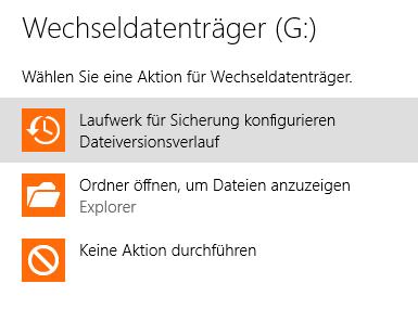Laufwerk für Sicherung konfigurieren Dateiversionsverlauf