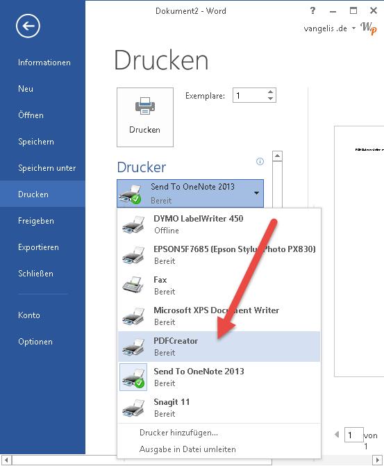 pdf creator drucker