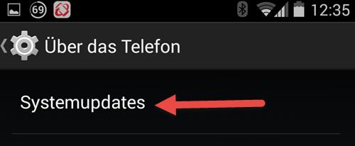 Android Einstellungen ueber das Telefon Systemupdates