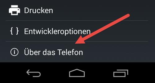 Android Einstellungen ueber das Telefon